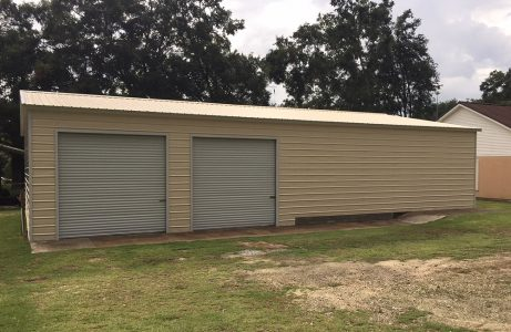 Two Car Steel Garage with Storage Room