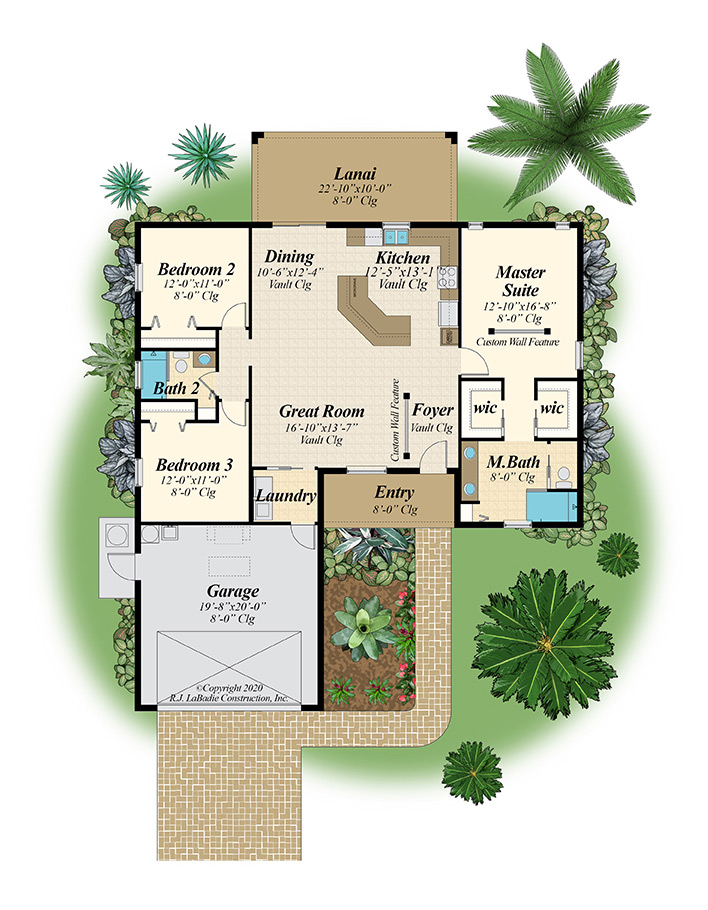 Floorplan of 3 Bedroom, 2 Bathroom single family house with lanai, garage, 4 walk in closets, dining, and great room