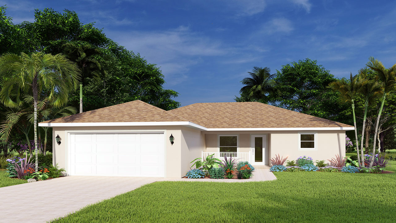 Rendering of new single family home in typical Englewood Florida landscape